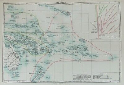 OLD ANTIQUE MAP POLYNESIA NEW ZEALAND POLYNESIAN ISLANDS c188O's by JOHNSTON