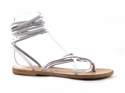 d327e5a0a67f Flat strappy sandals in real leather brown cuir ivory white Handmade in  Italy