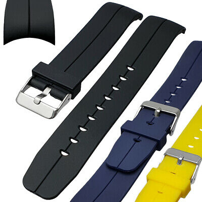 Curved End PU Rubber Watch Strap Black White Red Orange Blue Yellow 20mm 22mm