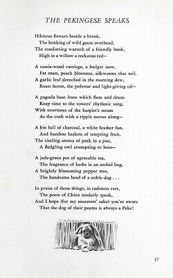 Pekingese Illustration and Poem - 1947 M. Dennis