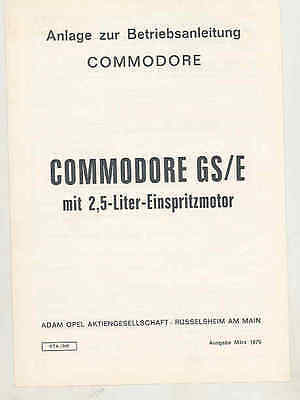 1970 Opel Commodore GS/E Owner's Manual Supplement Brochure mx7469