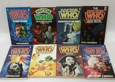 1980s Target Doctor Who TV Series British Paperback Book Set of 8- FREE S&H