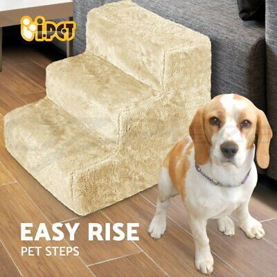iPET 3 Steps Pet Soft Plush Steps Ladder Washable Cover Cat Dog Stairs Ramp