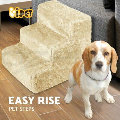 i.Pet 3 Steps Pet Soft Plush Steps Ladder Washable Cover Cat Dog Stairs Ramp