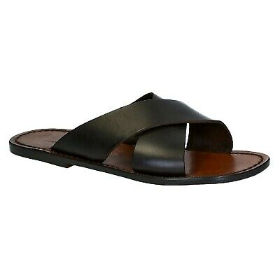 33d7c42751e Mens leather slippers sandals in dark brown leather Handmade in Italy