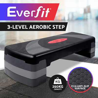 Everfit Aerobic Gym Workout Exercise Fitness 4 Blook Bench Step Level Stepper