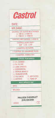 1960's 1970's Castrol Oil Change Automobile Sticker Chevrolet Oyster Bay mx7477