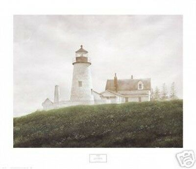 Maine LIGHTHOUSE ART PRINT - Fog at Pemaquid by Doug Brega 26x30 Poster