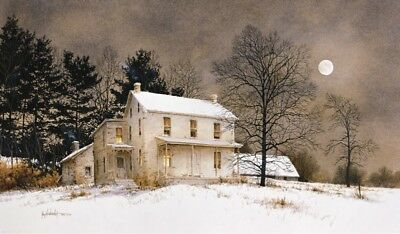FARM LANDSCAPE ART PRINT - Wolf Moon by Ray Hendershot 24x16 Country Poster