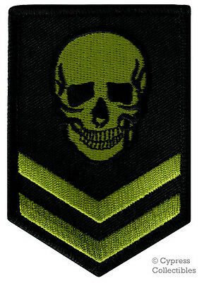 Iron-On Patch - Green Skull Embroidered Military Skeleton Death Emblem Evil