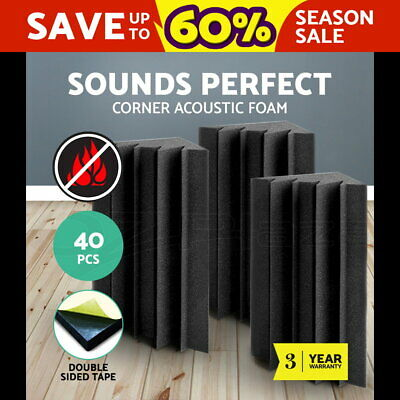 20 x Studio Acoustic Foam Sound Absorption Panel Tile Treatment Eggshell 50x50cm