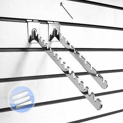 Slatwall Display Accessory - Chrome/ Waterfall/ Angled/ Sloping Notched Arm Hook
