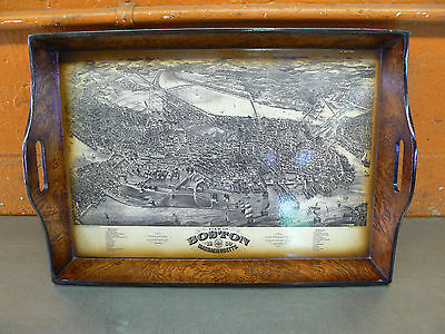 Wooden Tray With Boston Map Inlay