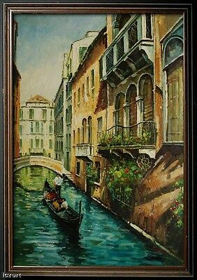 "Venice Buildings River Street Boat City Art oil painting on Canvas 24""x36"" V8"