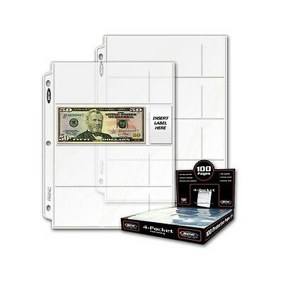 100 - 2 3/4 x 6 1/2 Currency Dollar Page Protector 4/pg BCW Pro4C  3 ring binder