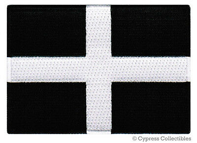 CORNWALL FLAG embroidered iron-on PATCH CORNISH EMBLEM ENGLAND UK UNITED KINGDOM