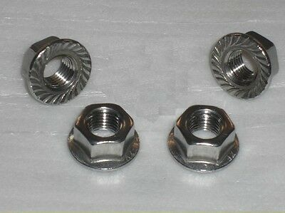 4x Stainless Steel M7 FLANGE Nuts 1.0mm pitch VESPA LAMBRETTA SCOOTER