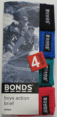 Bonds 4 Pack Boys Action Cotton Briefs Underwear size 6  8 10 12 14 Multi Colour