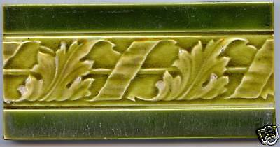 Art Nouveau original period 6x3 tile guard in two green shades low relief leaves