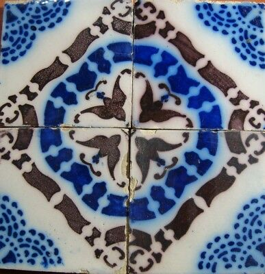 Set of 4 PAS CALAIS French original period Desvres antique tile ca.1890 blue