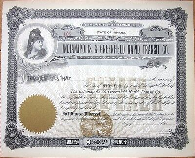 1890 Stock Certificate: 'Indianapolis & Greenfield Rapid Transit' - IN Railroad