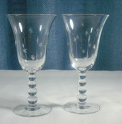 IMPERIAL GLASS STARLIGHT WATER GOBLETS 2 cut stars 1930's to 1960's   EXC