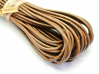 32.8 feet Coffee Round Real Genuine Leather Jewelry Cord String 2mm