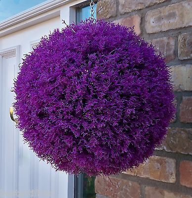 Best Artificial 30cm Purple Heather Topiary Ball Lavender Flower Basket Grass