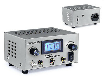 New Pro Dual User Digital LCD Tattoo Power Supply Silver SS Foot Pedal USA