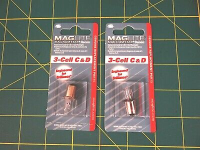 MAGLITE LMSA301 Replacement Lamp 3-Cell C&D  Flashlight (Magnum-Star) Lot of 2