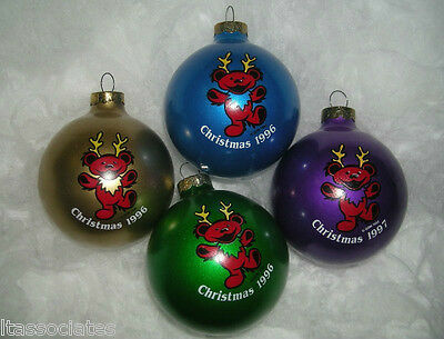 GRATEFUL DEAD REINBEAR 4PC ORNAMENT SET 1996 Gold, Green, Blue, Purple New