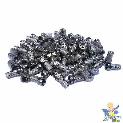 100 X Twist On Twin Shotgun F Connector For Wf65 / Ct63 Twin Coax Cable