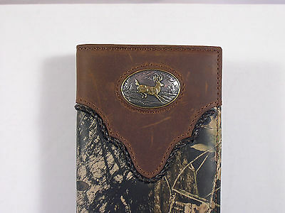 Western Checkbook Cover Wallet Billfold Jumping Buck Camo Checkbook