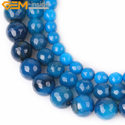 Faceted Round Dark Blue Agate GEM Jewelry Making  DIY Beads Strand 15''Size Pick
