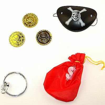 Childrens Pirate Money Play Set - Plastic Coins, Eye Patch, Pouch and Earring