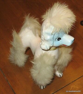 Vintage 1950s Japan Poodle Dog Porcelain Figurine Real Fur Toy Small Collectible