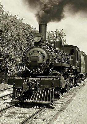 40 x 60 TEMPERED GLASS WALL ART PICTURE STYLISH RETRO OLD LOCOMOTIVE DESIGN