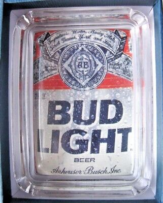 BUD LIGHT Beer Card & Glass Ashtray Key Candle Coin Tray Budweiser Paperweight