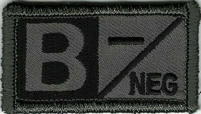 Grey Gray Black Blood Type O Positive Patch VELCRO BRAND Hook Fastener Compat