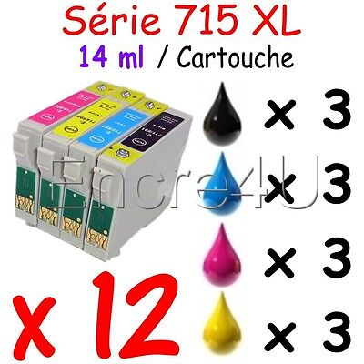 Lot de 12 cartouches compatibles nonOEM Epson : Encres réf. T715 TO715 715 T0715