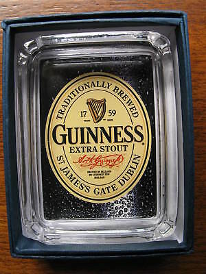 Guinness Beer Card & Glass Ashtray * Ring Key Candle Coin Tray  or Paperweight
