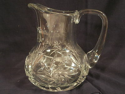 "Vintage Cut Glass 6 1/4"" Pitcher Starburst Bottom Applied Handle"