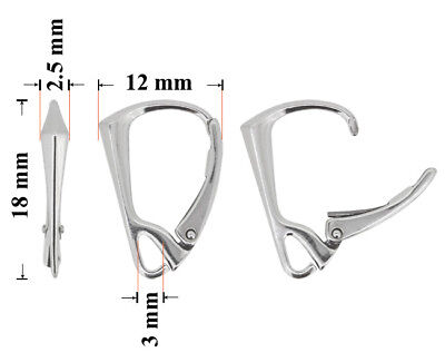Sterling Silver Leverback Earring Hooks with Open Loop 18x12mm * Findings