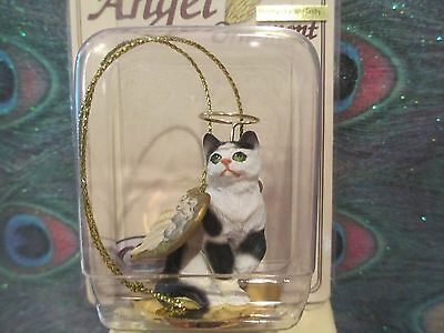 Cat ~ Black & White Tabby ~ Angel Ornament  #cta02