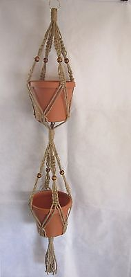 Macrame Plant Hanger 2-TIER 6PLY All Natural JUTE 50in with BEADS