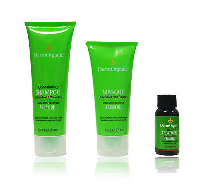 Dermorganic Argan Oil Travel Set Shampoo, Masque and Leave In Treatment