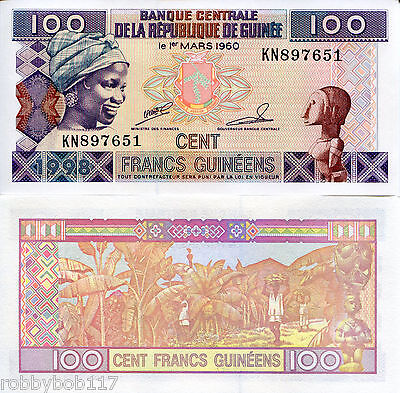 GUINEA 100 Francs Banknote World Paper UNC Currency Money p35a Note Africa BILL
