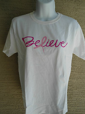 NWT HANES  GRAPHIC BREAST CANCER AWARENESS  CREW NECK TEE SHIRT WHITE/PINK  XL