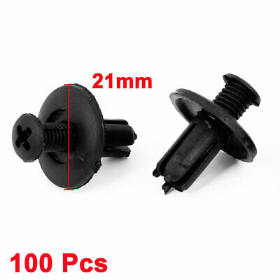 100x Truck Car Door Fender 8mm Hole Push Plastic Rivets Fastener Black