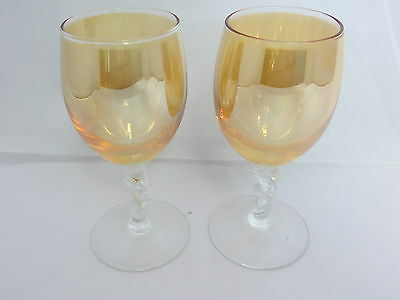 UNKNOWN CRYSTAL Clear Twisted Stem Iridescent Marigold QTY 4 SHERRY GLASSES -17C